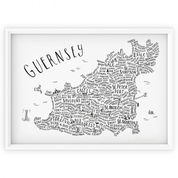 Guernsey illustrated word map print