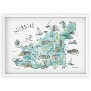 GUERNSEY MAP BLUE